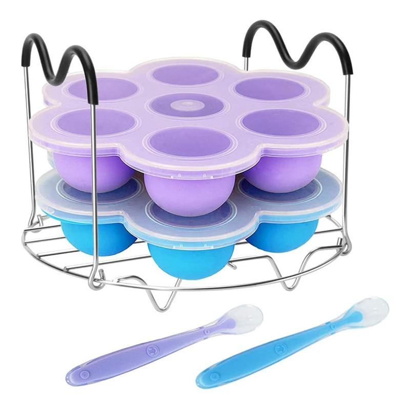 Bandeja para el congelador de 7 cavidades para comida de bebé, molde para picaduras de huevos, recipiente de silicona para almacenamiento de alimentos de bebés con estante humeante y tapa de Clip