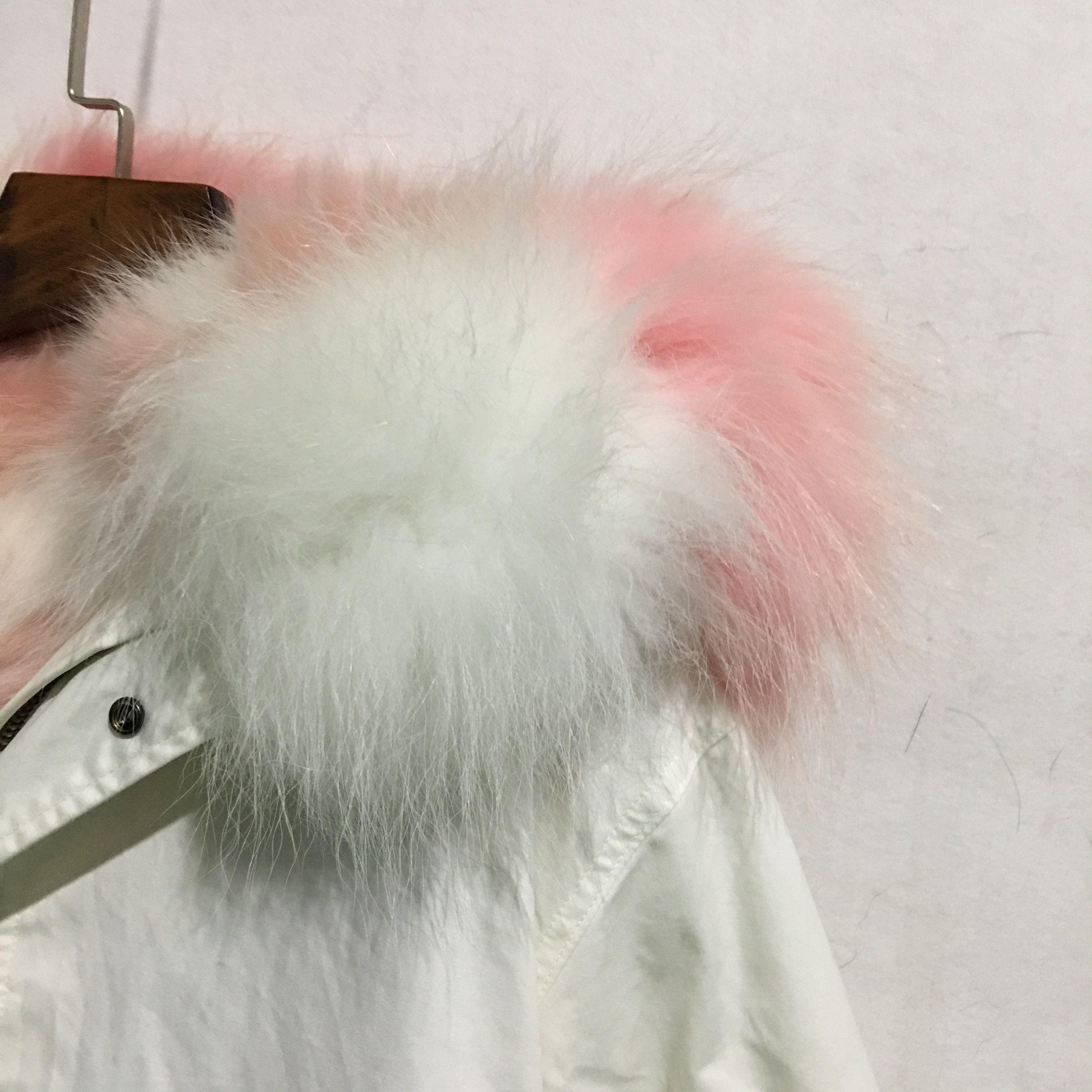 Women's White Mini Cotton Canvas Parka W Fur Trim Babypink in White Color