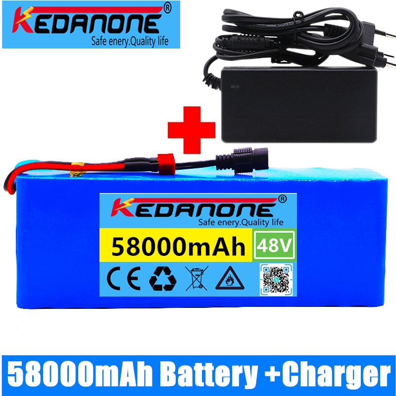 48v lithium ion battery 48v 58Ah 1000w 13S3P Lithium ion Battery Pack For 54.6v E-bike Electric bicycle Scooter with BMS+charger