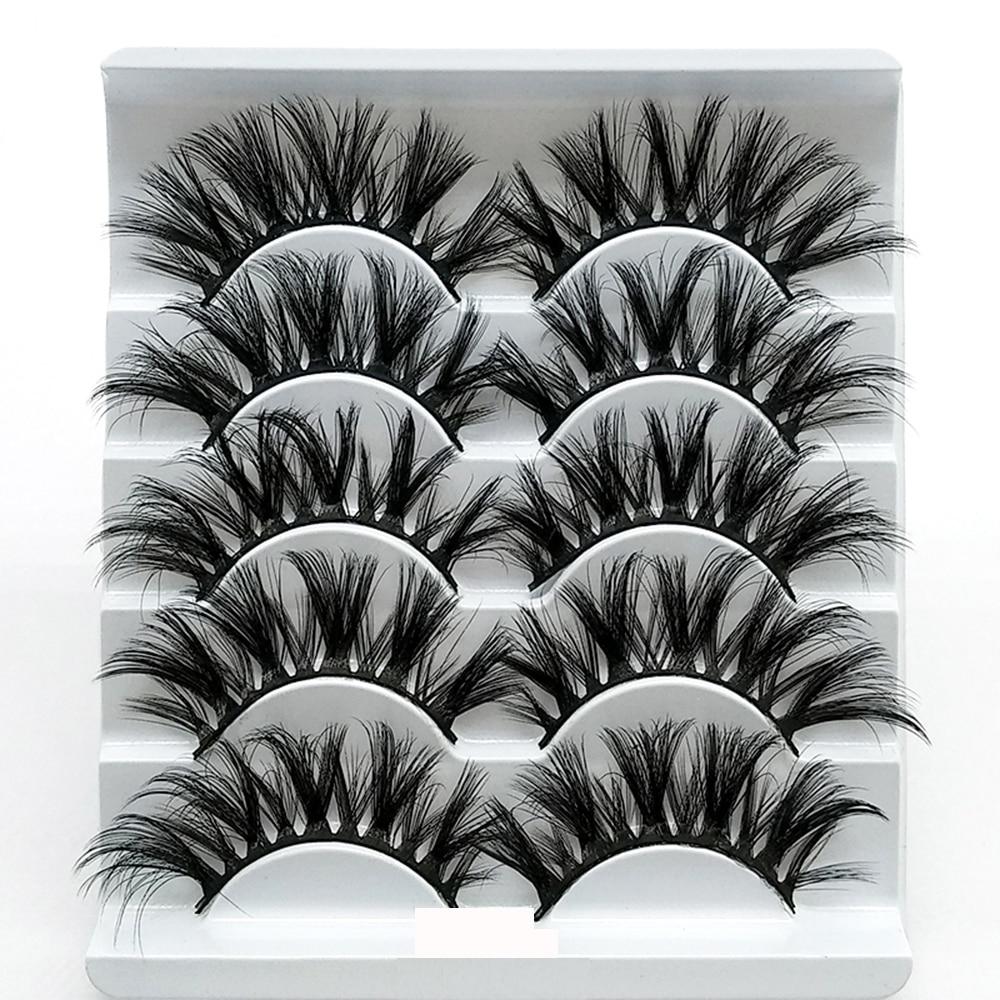5 pares 5D imitación suave pelo de visón pestañas falsas grueso hecho a mano Wispy largo esponjosa pestañas Natural maquillaje de ojos Glam de pestañas