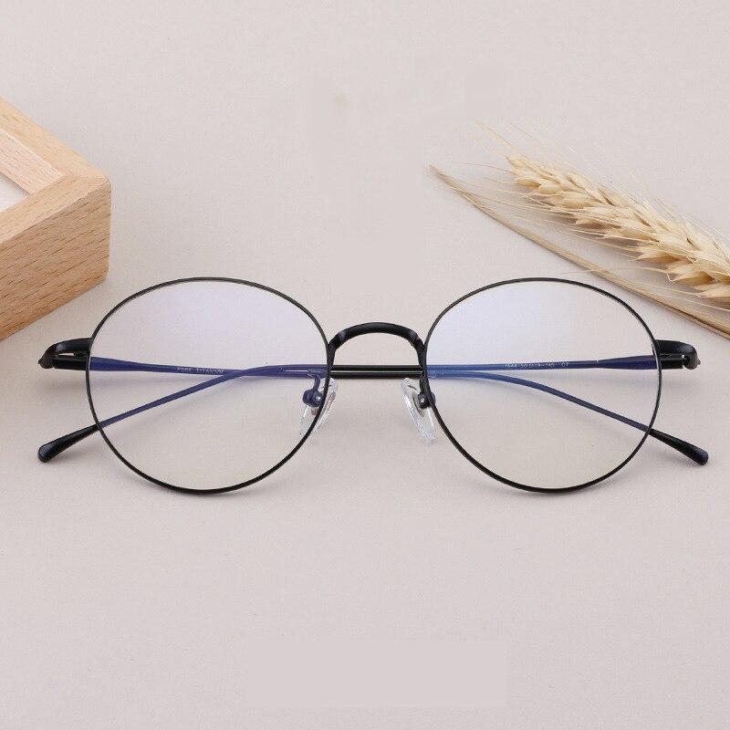نظارات عالية الجودة من التيتانيوم الخالص الخفيف للغاية للرجال والنساء ، إطار دائري عتيق ، وصفة طبية