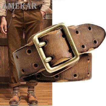 3.8CM Double Needle Belt Buckle Hypoallergenic Belt Luxury Thick Retro Leather Belt Men Men's Jeans Belt Military Belt