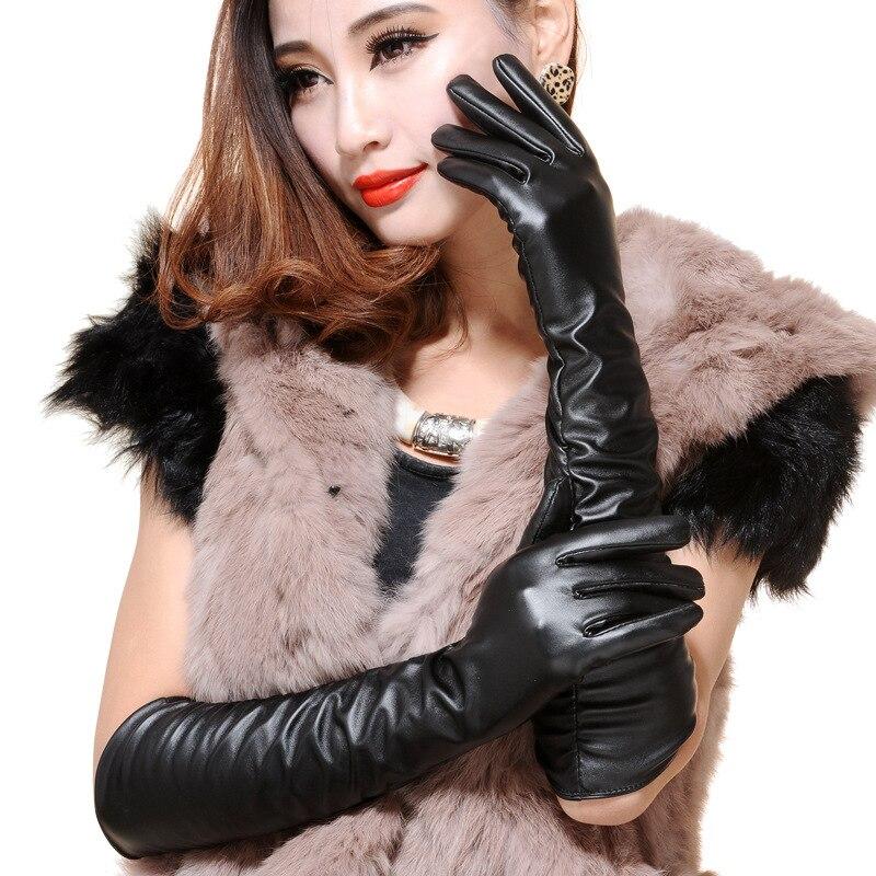 Модные длинные кожаные перчатки в стиле панк, зимние кожаные перчатки для вождения, женские теплые уличные длинные сексуальные перчатки
