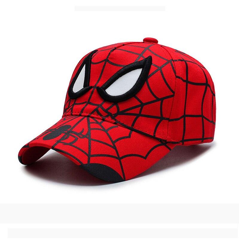 2020 Newest Red Anime Hat Spiderman Kids Fashion Embroidery Cotton Baseball Cap Children Boy Girl Hip Hop Hat Spiderman Cosplay