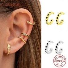 CANNER Real 925 Sterling Silver Clip on Earrings Jewelry Ear cuff Clip Earings for Women No Piercing Cartilage Earring Bohemia