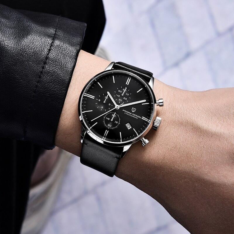 PAGANI DESIGN 2021 Men's Quartz Sports Watch Luxury Fashion Chronograph JapanVK67 Genuine Leather Waterproof 100M Automatic Date enlarge