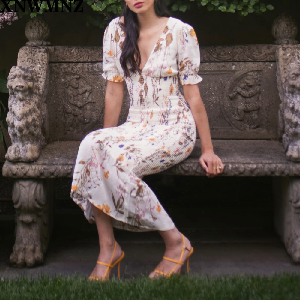 Za marrón Floral crema de impresión mujeres vestido largo Chic cuello pico vestidos Vintage elástico vestidos moda verano vestido XNWMNZ