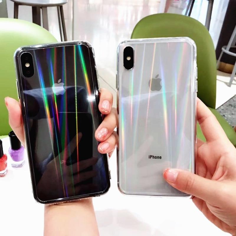 Funda de teléfono para iPhone 11 Pro Max, funda de silicona suave de TPU transparente, funda brillante para iPhone XR XS X 7 8 6 6S Plus, funda