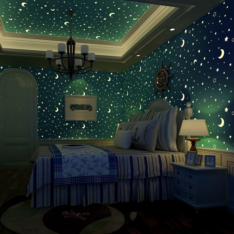 ثلاثية الأبعاد مضيئة رومانسية نجوم القمر خلفية للجدران بنين بنات غرفة الأطفال غير المنسوجة المطبوعة سقف الفلورسنت الجدار تغطي