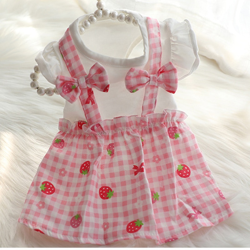 Одежда для собак, одежда с фруктами, платья для собак, одежда с принтом клубники, очень маленькая одежда, милая весенне-летняя одежда с розов...