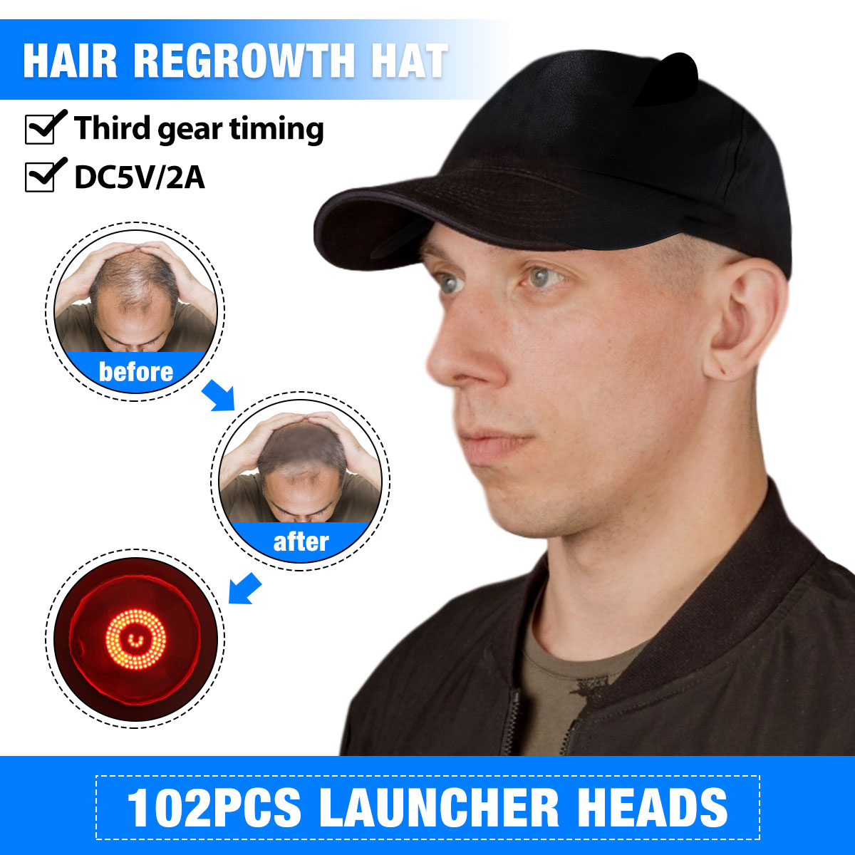 DC5V Hair Growth Laser Helmet 102Pcs Light Chips Anti Hair Loss Hair Growth Cap Hair Loss Therapy Decive Hair Regrowth Machine