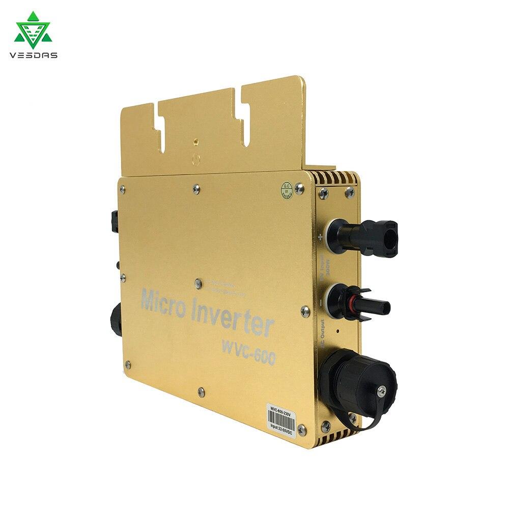 Microinversor WVC-600W rejilla Solar IP65 en inversor DC22V-50V de entrada a AC180-260V, 50HZ impermeable inversor Solar de onda sinusoidal pura