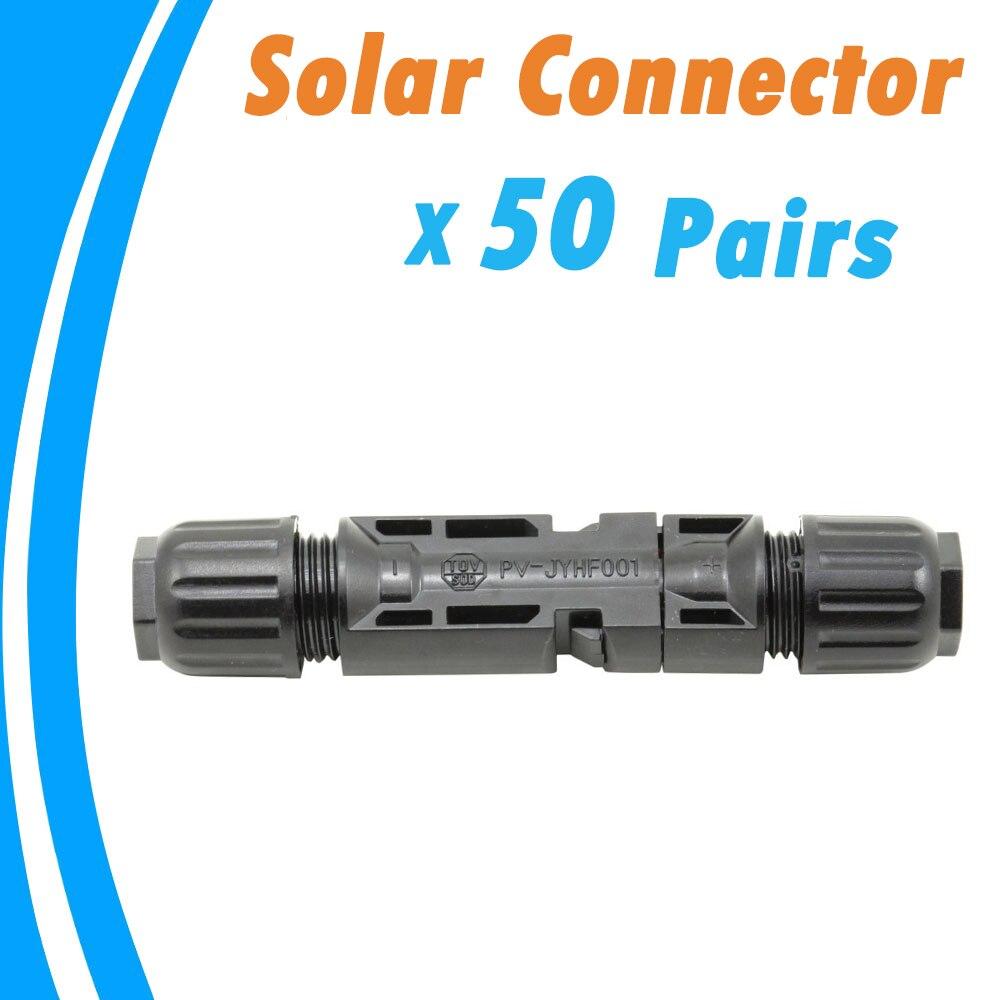 50 Pairs الذكور والإناث لوحة طاقة شمسية موصل تستخدم لكابل الطاقة الشمسية مناسبة كابل عبر أقسام 2.5mm2 ~ 6.0mm2