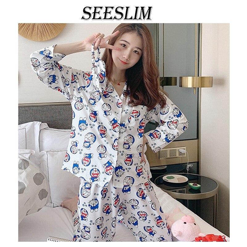 Seeslim Doraemon Women Pajamas Set Print Cartoon Long Sleeve Pyjama Femme Kawaii Ladies Night Wear Fashion Spring Autumn 2021