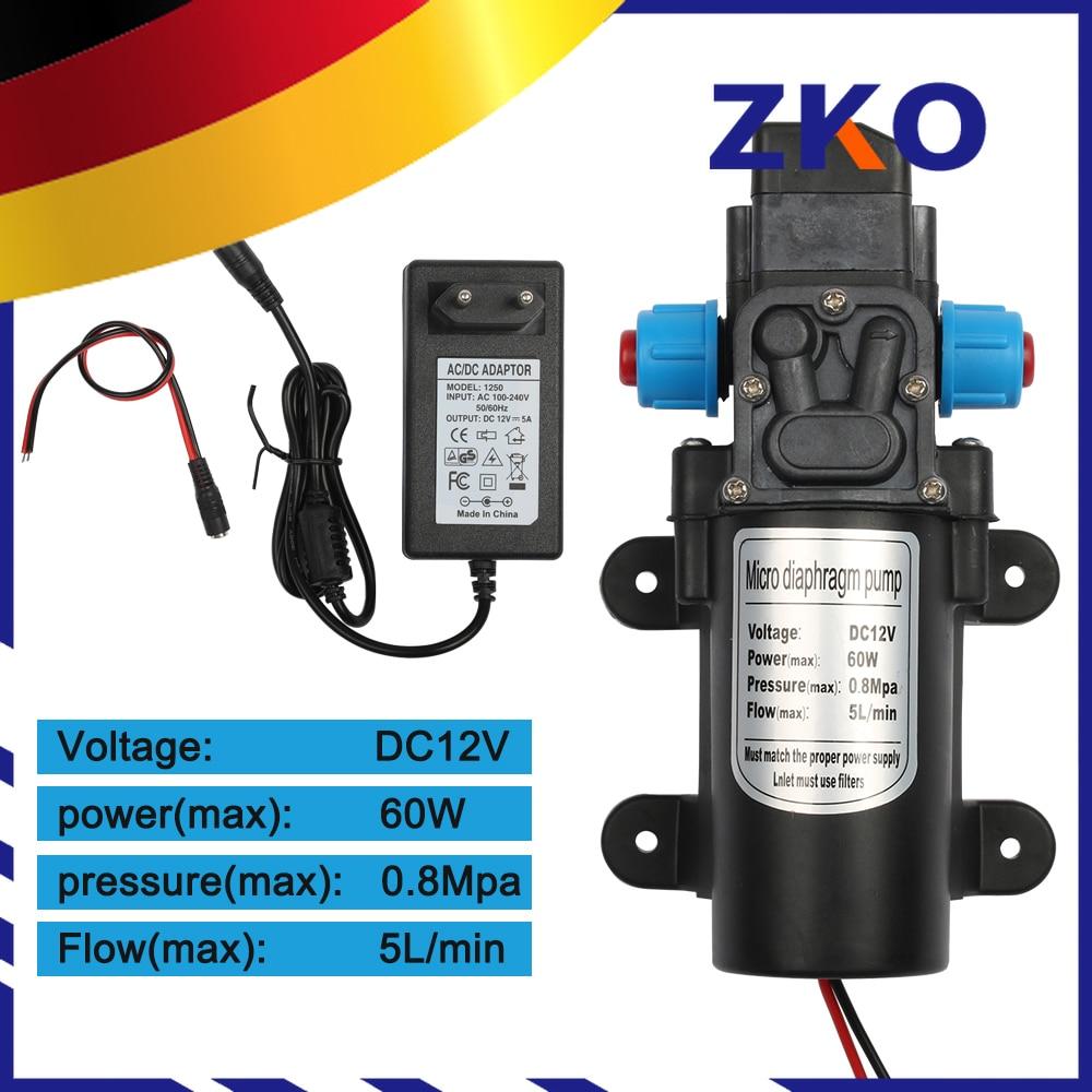 DC 12V 60W Micro Electric Diaphragm Water Pump Automatic Switch 5L/min High Pressure Car Washing Spray 0.8Mpa