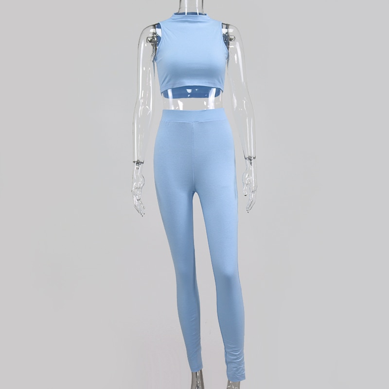 NewAsia Elastic Sporty 2 Piece Set Women Sleeveless Bodycon Tracksuit O Neck Crop Tops And Long Tight Pants Outfits Sports Sets