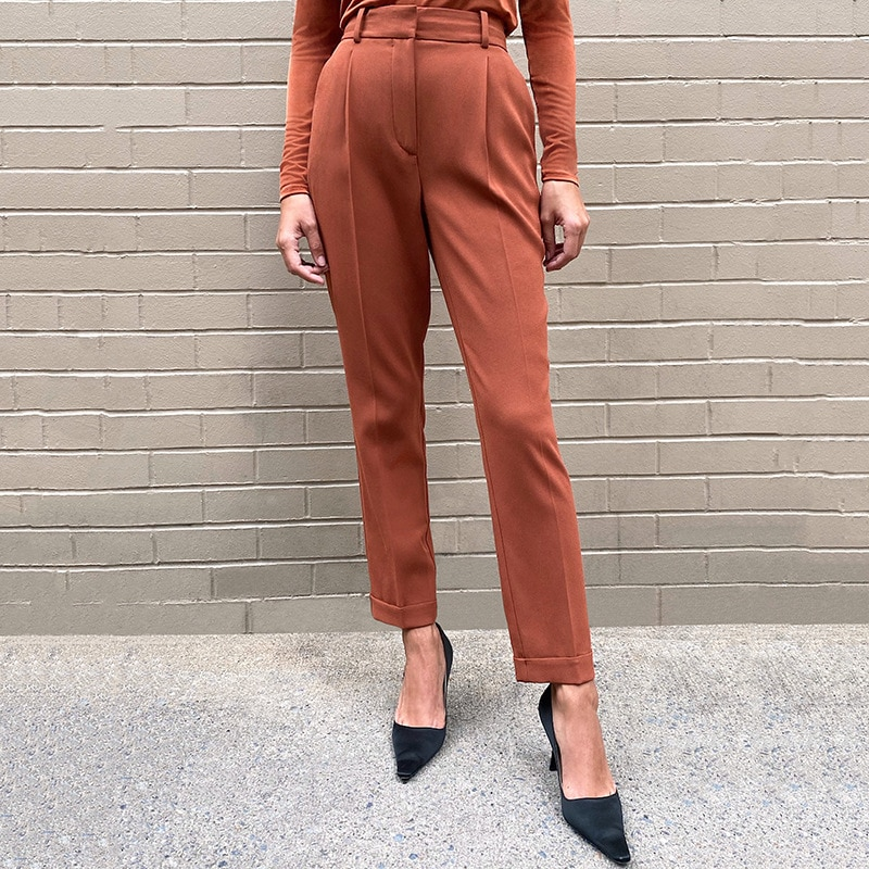 Spring Autumn Office Casual Women's Suit Pants Ladies European And American Simple Commuter High Waist Slim Cropped Trousers