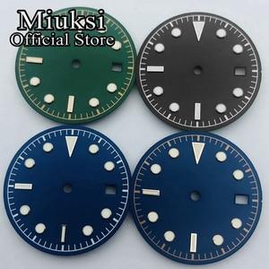 Miuksi 30.5mm black blue green sterile luminous dial fit NH35 ETA 2824 2836 Miyota 8215 821A Mingzhu DG2813 3804 Seagull 1612