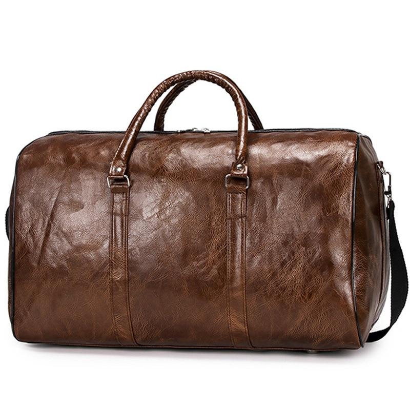 Couro do plutônio duffle bolsa feminina sacos de viagem bagagem organizador saco weekender senhoras sacos de mão bolsa para portátil/tote multifuncional