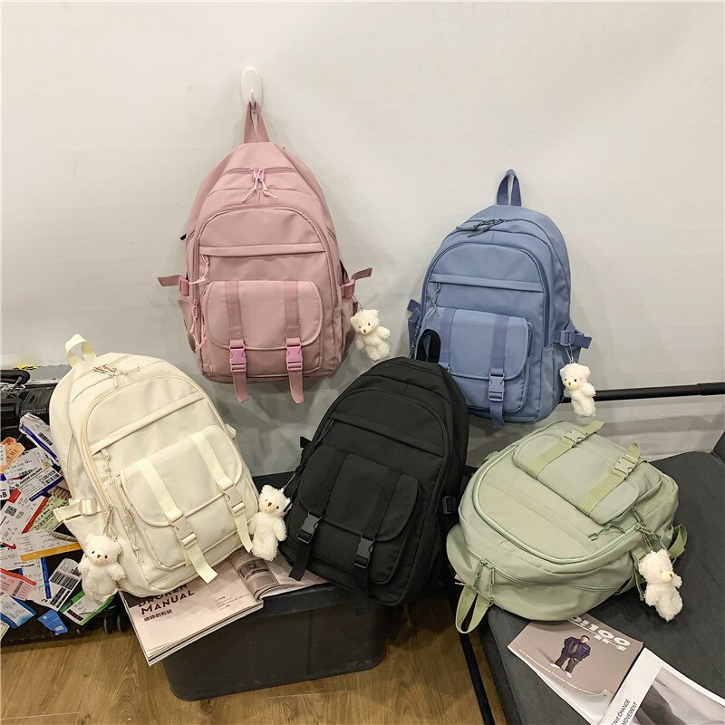 High Quality Nylon Waterproof Big Backpack 2021 New Leisure Travel Black Rucksack College School Bag