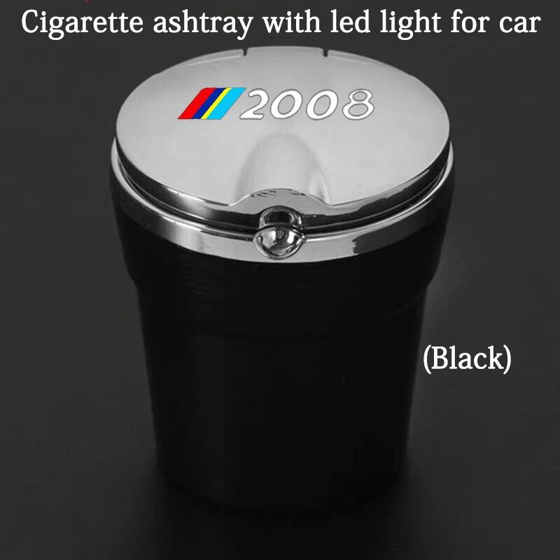 Автомобильная пепельница со светодиодной подсветкой и логотипом, креативные личные автомобильные принадлежности для Peugeot 2008, автомобильны...