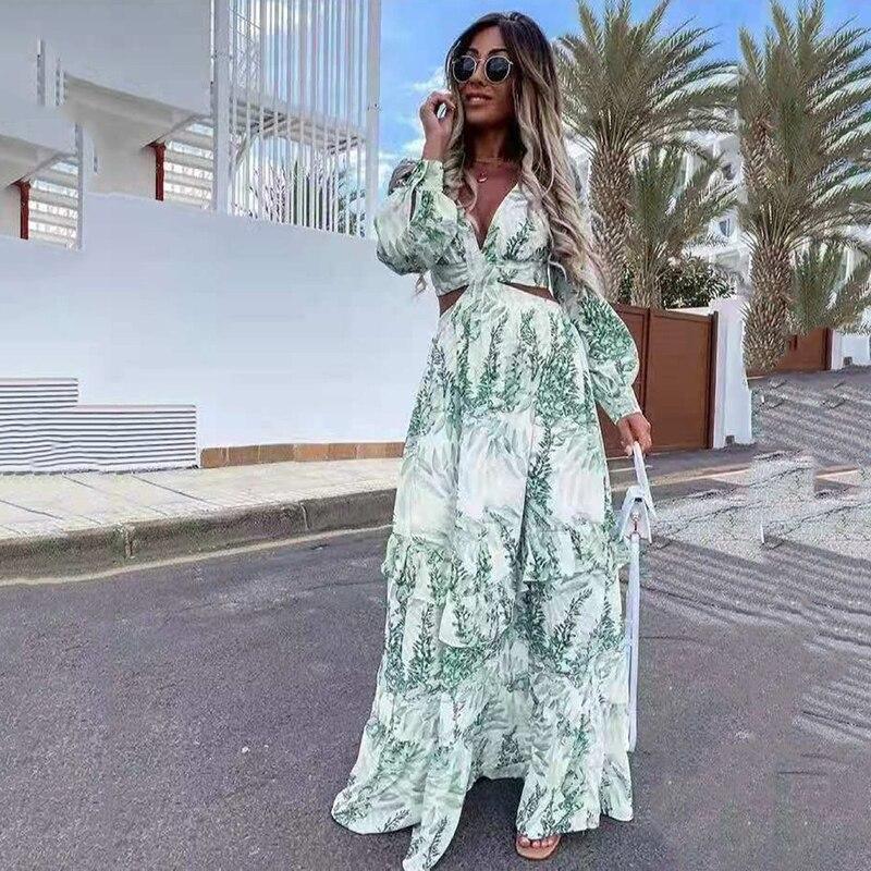 aliexpress.com - Sexy Floral Cute Hollow Out Boho Long Dress Women Deep V Neck Ruffle Party Dress 2021 Autumn Summer Long Sleeve Maxi Beach Dress