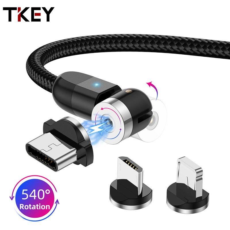 Tkey 360 вращающийся магнитный кабель Micro USB Type C кабель Быстрая зарядка для xiaomi redmi note7 Android USB C зарядное устройство Шнур