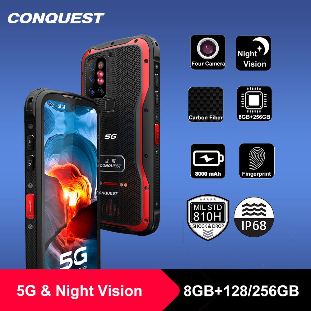 Перейти на Алиэкспресс и купить 2021 Новый CONQUEST S20 5G Ночное видение смартфон IP68 Водонепроницаемый 48MP четыре Камера 8 Гб Оперативная память 256 ГБ Встроенная память глобальная в...