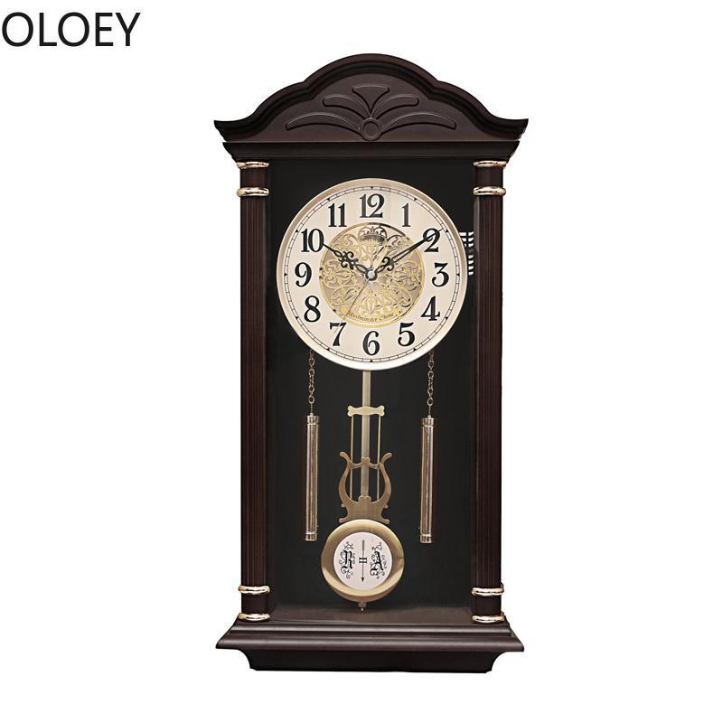 Vintage Large Wall Clock Retro Pendulum Clock Living Room Bedroom Creative Home Decor 3d Wood Wall Clocks Reloj De Pared Decor