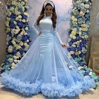 arbric dubai mermaid evening dresses with detachable train overskirts long sleeves ruched tulle prom dress party gowns vestidos