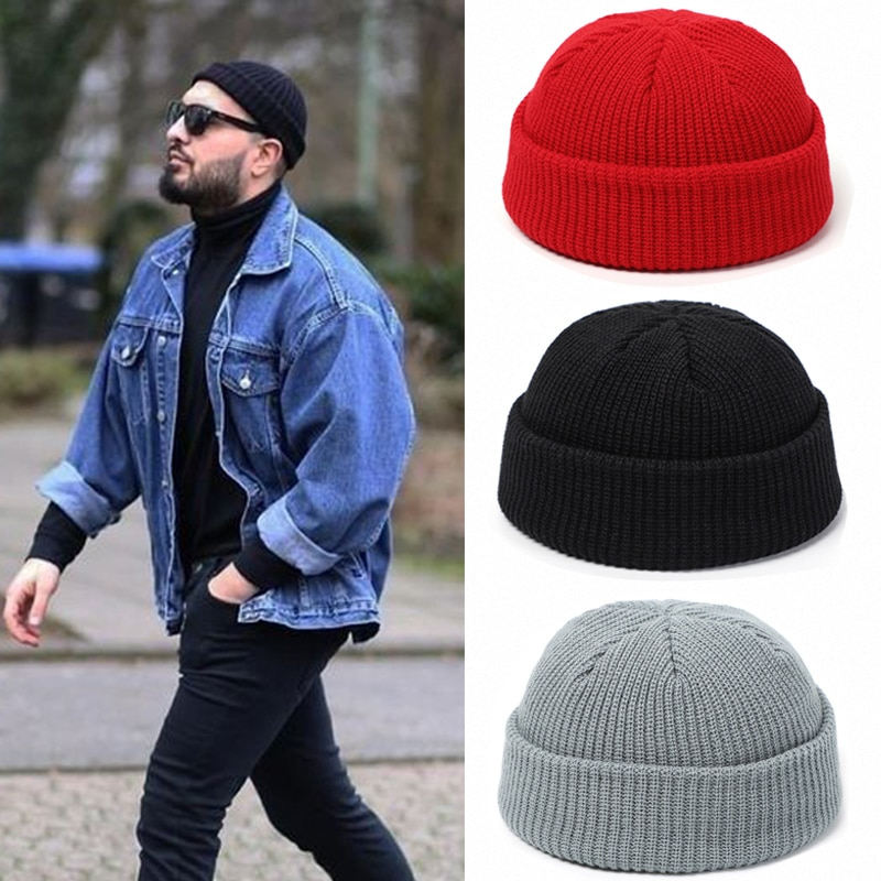 Knitted Hats for Women Skullcap Men Beanie Hat Winter Retro Brimless Baggy Melon Cap Cuff Docker Fis