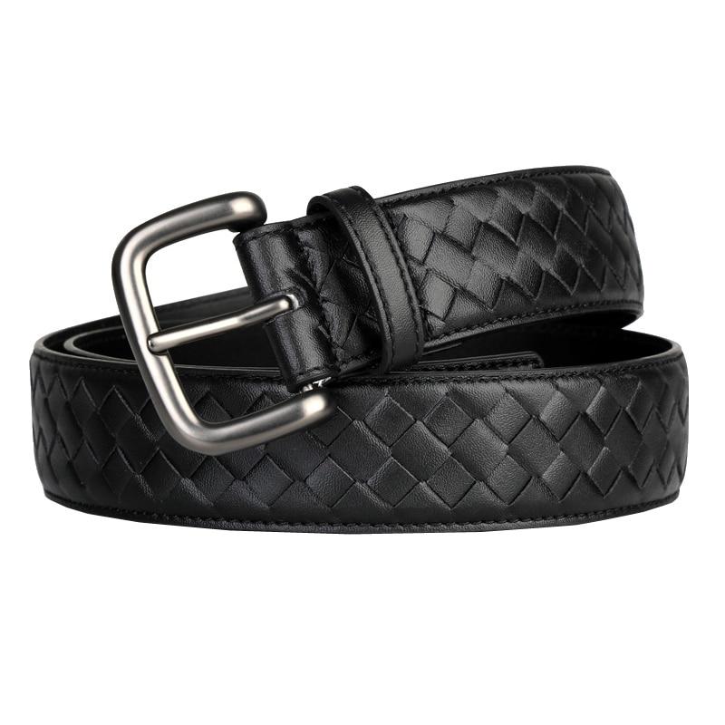 Western Hand Brided Black Coffee Blue Leather Pin Buckle Men Belt Fashion Jeans Causal Pants Belt