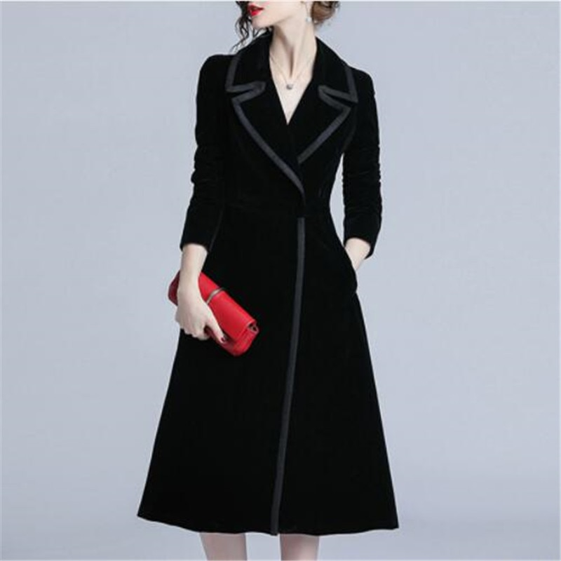 Nueva llegada mujer moda cómoda terciopelo gabardina profesional OL temperamento sólido niñas caliente al aire libre largo negro trench
