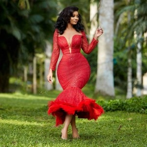 Luxury Red Feathers Prom Dresses Ankle Length Crystal Beaded Sequins Aso Ebi Short Prom Dressing Gown Long Sleeve Plus Size