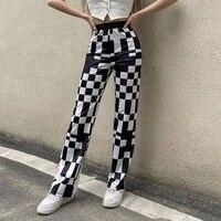 zovsv casual vintage plaid pants black white skinny elegant high waist long trousers women checkered y2k fashion streetwear