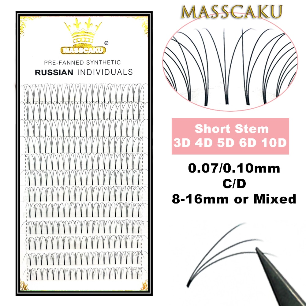 MASSCAKU Lashes Premade Wide Fans 3d/4d/5d/6d/10d/20d Short Stem Russian Volume Professional Eyelash Extensions Faux Mink