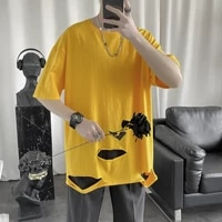 mens t shirt summer short sleeve hollow out round neck fashion hip pop streetwear casual solid harajuku cotton top man clothing