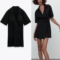 pleated dresses for women 2021 summer black wrap dress female short sleeve vintage party dresses female chic side snap button