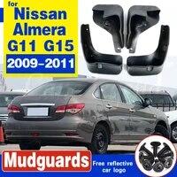 car mud flaps for nissan almera g11 russia version sylphy 2009 2011 splash guards mud flap mudguards fender g15 2010