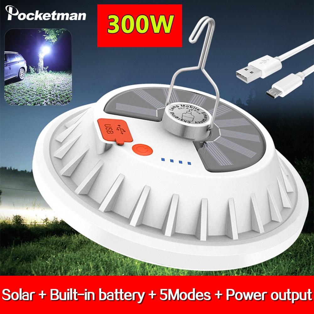 Lámpara LED nocturna Lanern de 300W, poderosa luz Solar, recargable por USB, Luz Portátil de Camping, luz para Mercado, lámpara de emergencia