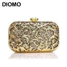 DIOMO Women High Quality Metal Relief Clutch Bag Luxury Diamond Female Dinner Bag Wedding Purse Part