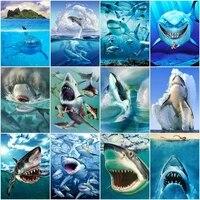 AZQSD     peinture diamant de requin  broderie complete  perles carrees ou rondes  decor de maison  Animal de mer  image en strass faite a la main