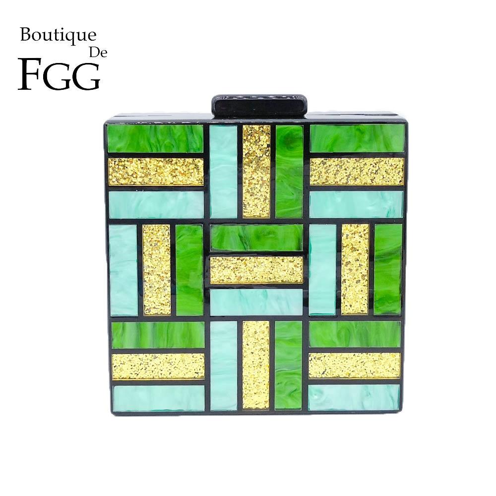 Boutique De FGG, bolsos De noche acrílicos De cuadros verdes para mujer, bolso De mano, bolso De mano, cadena De moda para mujer, bolso bandolera