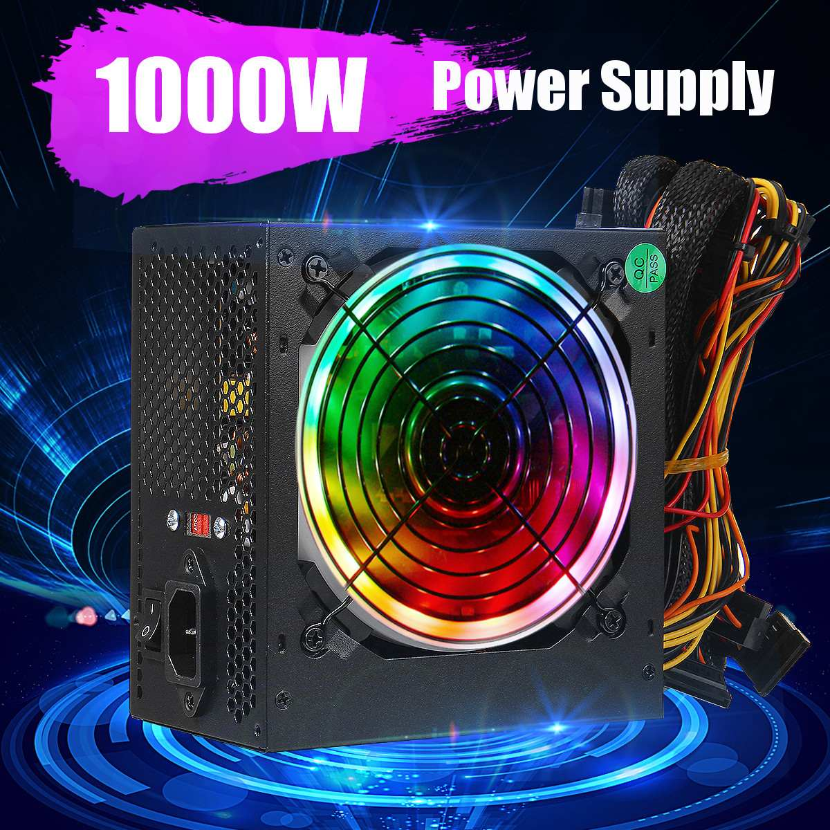 مصدر طاقة للكمبيوتر الشخصي ، بحد أقصى 1000 واط ، PFC ، مروحة صامتة ، ATX ، 20 دبوس ، 12 فولت ، SATA ، لأجهزة كمبيوتر ألعاب Intel و AMD