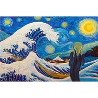 5d diy full square round resin diamond painting shouting and starry night cross stitch embroidery mosaic handmade gift