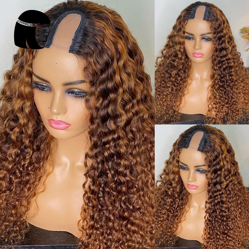 1*4/2*4 Ombre Brown U Part Wig Jerry Curly Human Hair Wigs Remy Hair Glueless Full Machine Wigs For