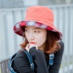 Reversible Floppy Bucket Hat for Women Designer Tartan Plaid Fisherman Cap Lady Spring Summer Two Side Sunshade Panama Bob Hats