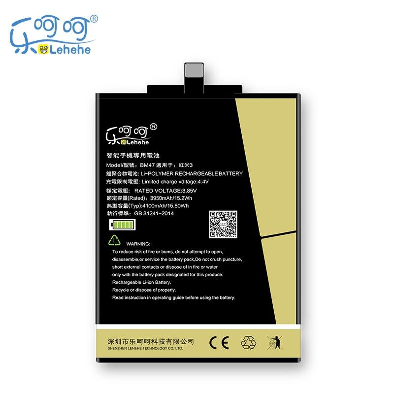 Nueva batería Lehehe BM47 para Xiaomi Redmi 3 3S 3X 4X Hongmi 3 3S 3X 4X Prime Pro 4000mAh baterías con herramientas de regalo