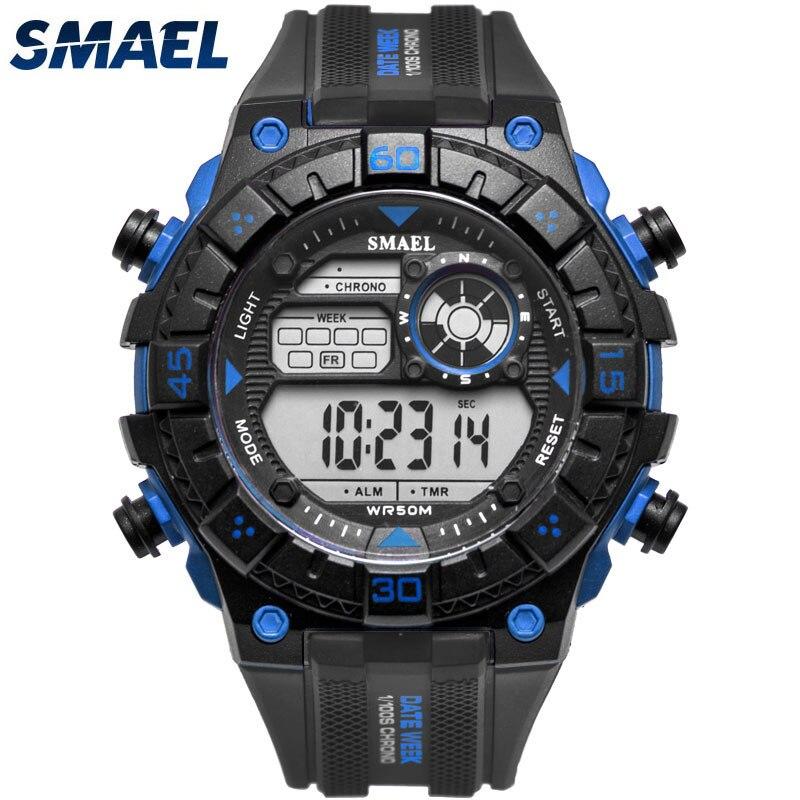 SMAEL Digital Watches 50M Waterproof Sport Watch Led Casual Electronics Wristwatches Pu Strap Black Blue Watch Led Light Clock