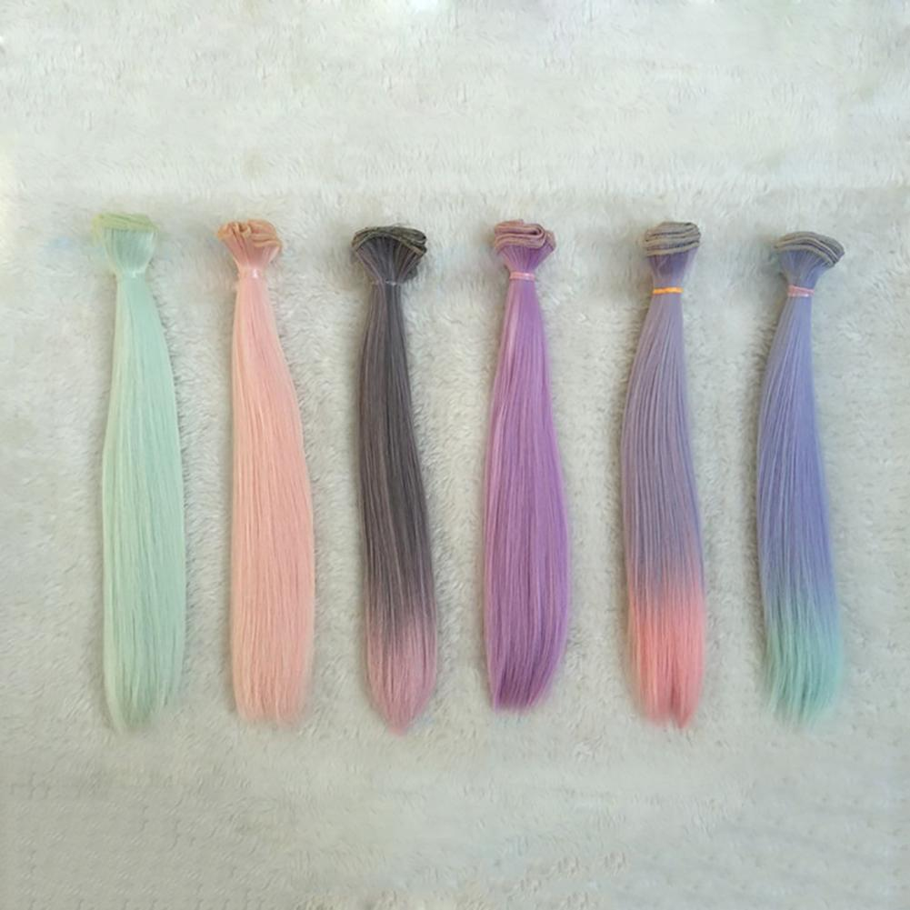 Peluca de pelo falso sintético largo liso DIY, muñecas para niños, regalo, belleza, muñecas de decoración, accesorios
